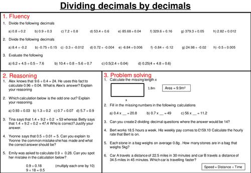 Dividing Decimals Mastery Worksheet By Joybooth Teaching