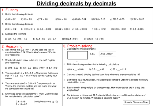 Dividing decimals - mastery worksheet