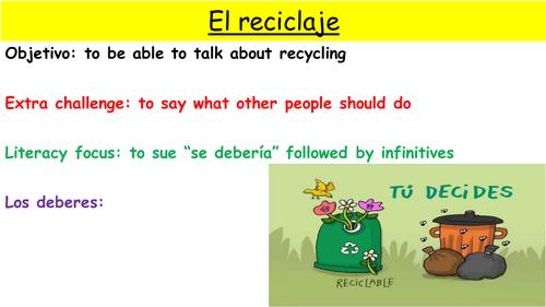 Y9 SPANISH VIVA MODULE 4: RECICLAMOS