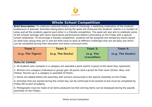 House Competition infrastructure and sample competition