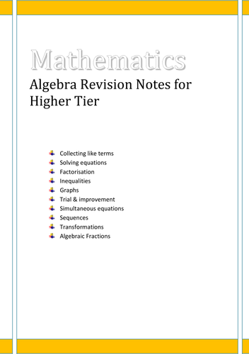GCSE Algebra revision guide
