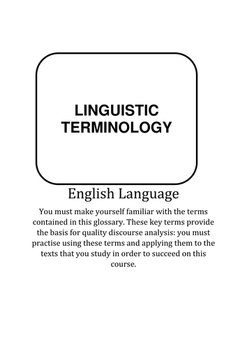 AS/A2 English Language Terminology Booklet