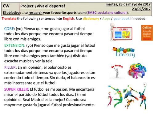 Research project (Motivational triggers) for KS3 Spanish - Viva el deporte!
