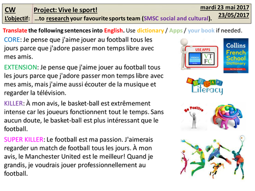 Research project (Motivational triggers) for KS3 French - Vive le sport!