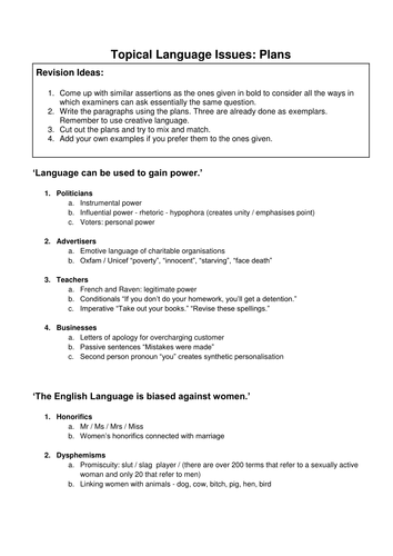 Topical Language Issues: Plans AS/A2 English Language