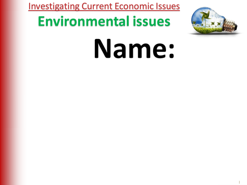 REVISION GUIDE  - AQA GCSE Economics - Unit 12 - Environmental Issues