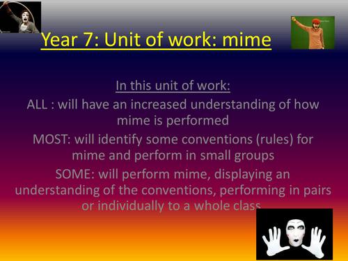 DRAMA: MIME KS3