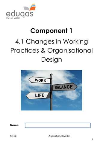 Changes in Working Practices and Organisational Design Work Book