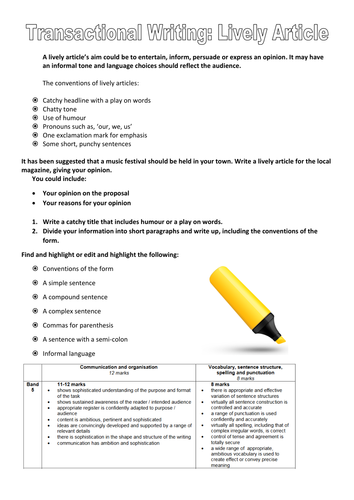 Transactional Writing Revision:  Lively Article