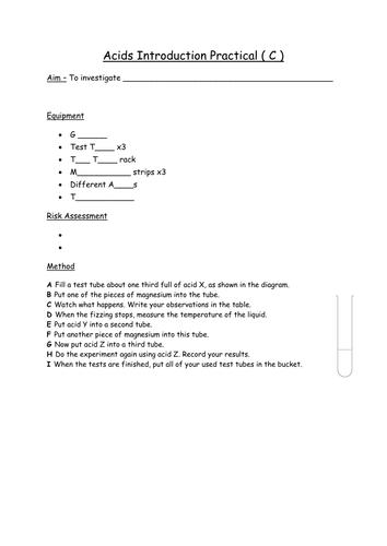 KS3 Science Acids Intro practical (Differentiated)