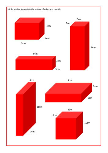 Volume of cubes and cuboids