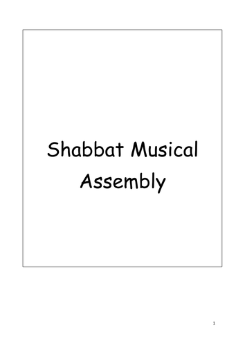 Judaism and Shabbat Class Assembly