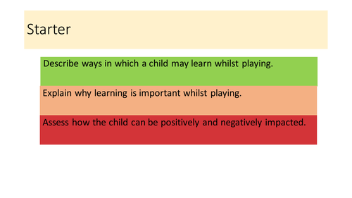 UNIT 3 - play and learning **NEW 2016 SPEC** full content for assignment 1