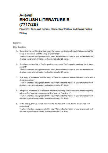 Aqa English Literature B Paper 2 Section B Questions By