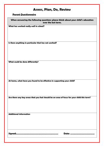 Assess, Plan, Do, Review - Parent questionnaire