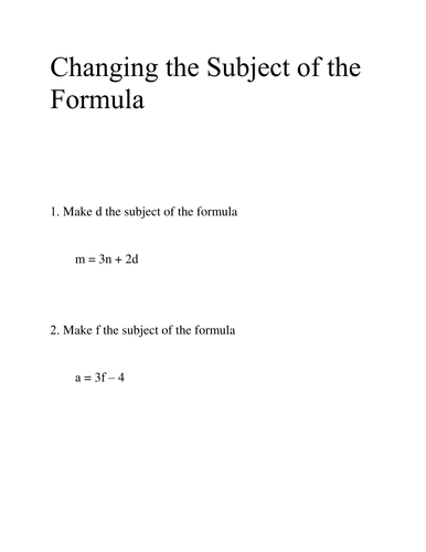 Changing the Subject of the Formula