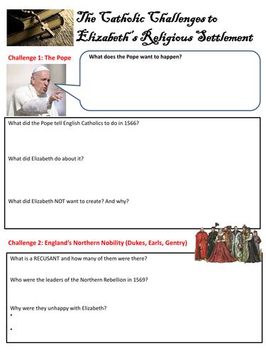 Edexcel 9-1 Elizabeth I Catholic challenges worksheet