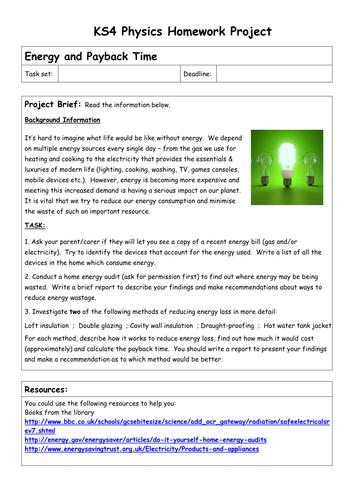 KS4 Physics Homework Projects