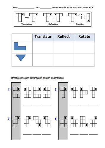 2D Shape: Reflect, Rotate, Translate