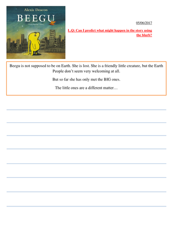 Making predictions, greater depth reader for Year 1, 2 and 3