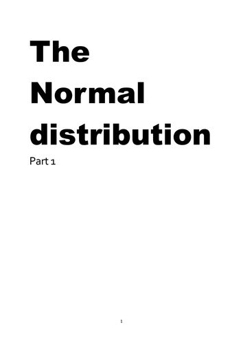 The normal distribution work book part 1 of 3
