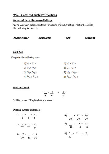 Adding and Subtracting Fractions - Reasoning Challenges and Skill Drill