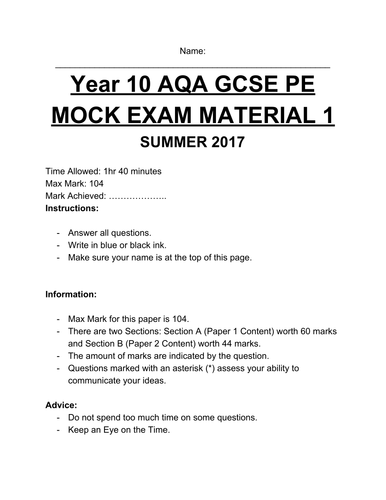 Year 10 AQA GCSE PE MOCK Exam Material Version 1 (9-1)