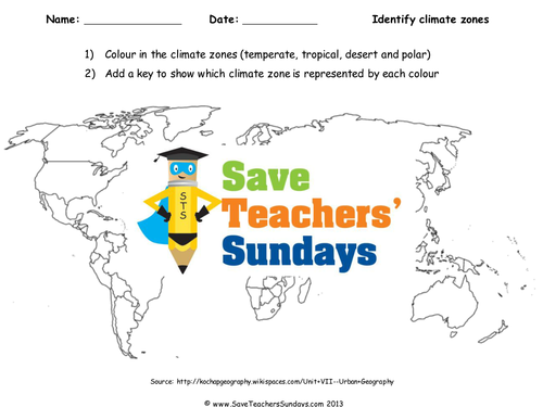 Save teachers sundays teaching resources tes climate zones map ks2 lesson plan worksheet and map gumiabroncs Images