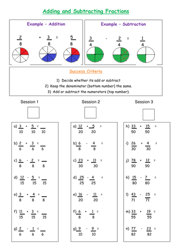 Skill Drill - Column addition and subtraction, short division, missing numbers, fractions