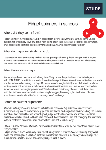 A teacher's guide to fidget spinners