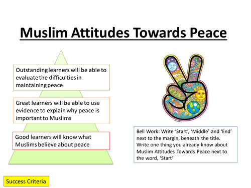 Edexcel 2016 Spec B GCSE  Peace and Conflict Topic, Muslim Attitudes Towards Peace