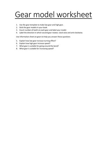 Gcse 19 Physics Gears by BushraHayat Teaching Resources Tes – Gear Ratio Worksheet