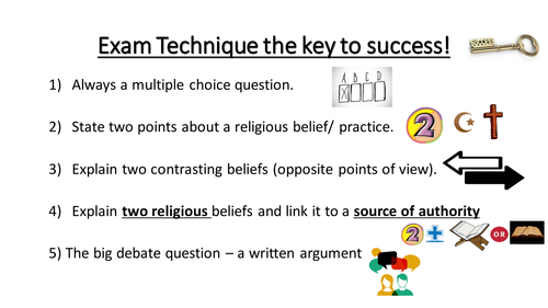 AQA 9-1 GCSE Religious studies Exam Technique PowerPoint for display or to share with students