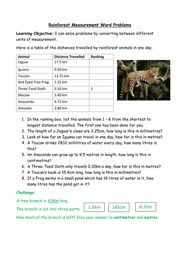 Measurement Word Problems on the Rainforest