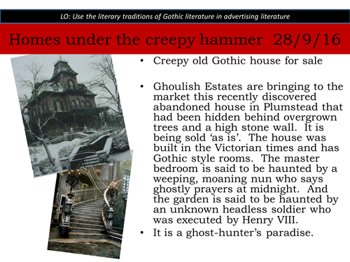 Homes under the creepy hammer  - Gothic conventions - KS3 - ghost stories