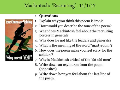 War poetry KS3 - Mackintosh - Recruiting