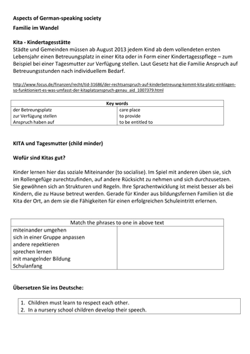 REVISED New AQA German A-Level Aspects of German-speaking society Familie im Wandel