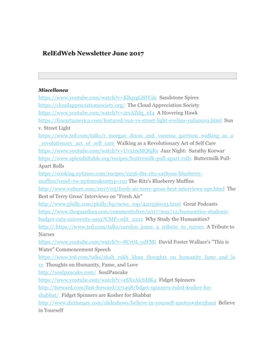 RelEdWeb Newsletter June 2017:  Articles, Links, YT Clips, and Lesson Resources