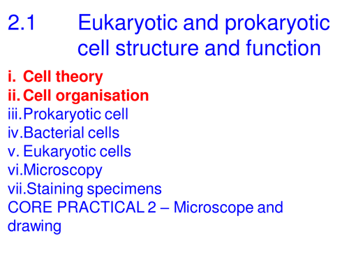 A level Biology Edexcel B 2.1 Cell theory and organisation