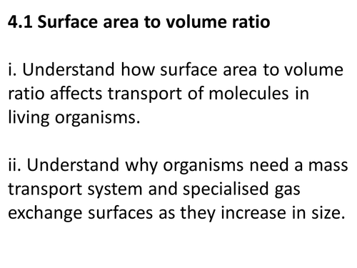 A level Biology Edexcel B 4.1 Surface area to volume ratio