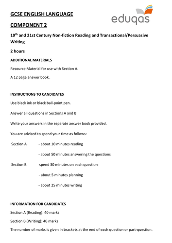 Eduqas GCSE English Language - Component 2 - Practice Examination Paper (Reading and Writing -