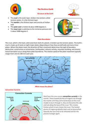 KS3 Volcanoes and Earthquakes Revision Booklet