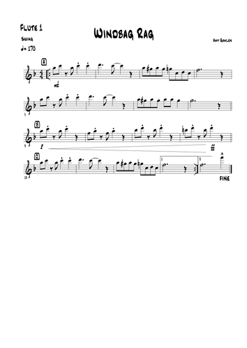 Windbag Rag for Flute Choir (3 or 4 flutes with optional alto)