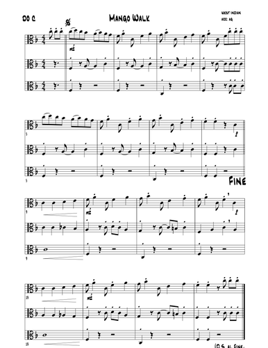 Mango Walk (trad)  (Easy Felxible Ensemble Piece)