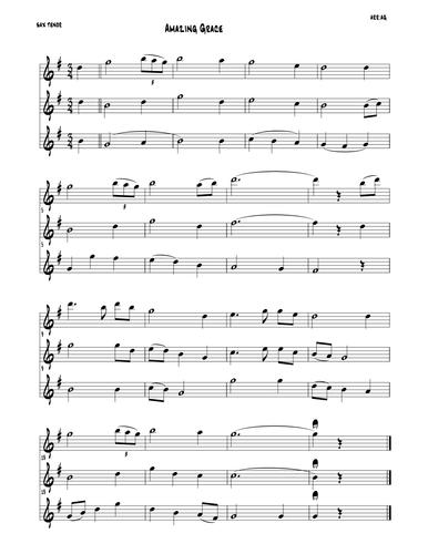 Amazing Grace (trio - parts in C Bb Eb )
