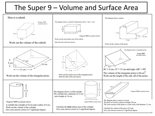 volume and surface area of prisms by mre_maths teaching resources tes - Surface Area And Volume Worksheet