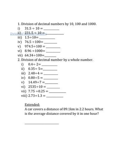 Division and Multiplication of Decimals