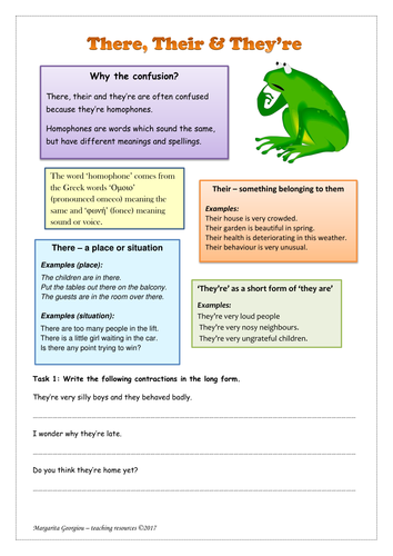 There, their, they're homophone worksheet with explanation, examples and tasks