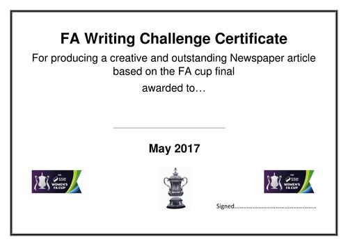 FA Writing Challenge, football inspired newspaper article writing