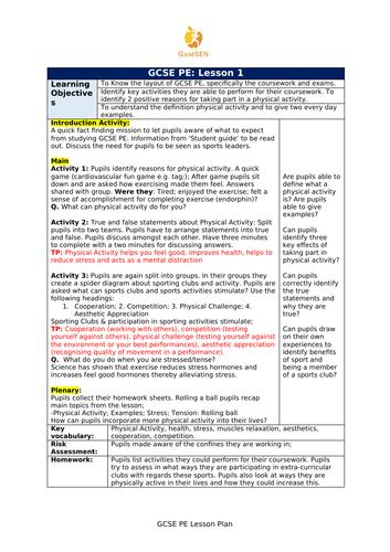 PE GCSE Theory Lesson Plans